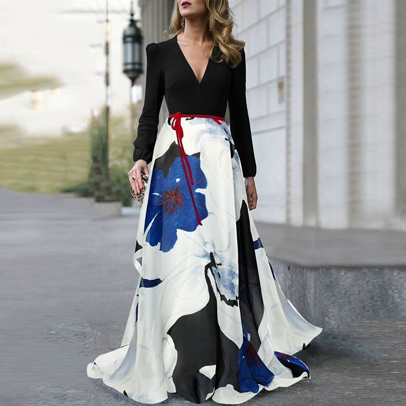 Fashion Women's Dress Floral Maxi Gown V Neck Summer Swing Long Sleeves Formal Female Dresses
