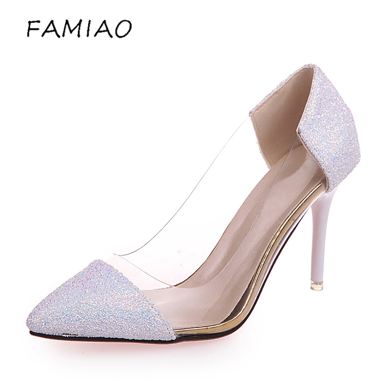 FAMIAO Women Pumps 2018 Transparent  High Heels Sexy Pointed Toe Slip-on bling Wedding Dress Shoes For Lady  party pumps 2017 shoes women med heels tassel slip on women pumps solid round toe high quality loafers preppy style lady casual shoes 17