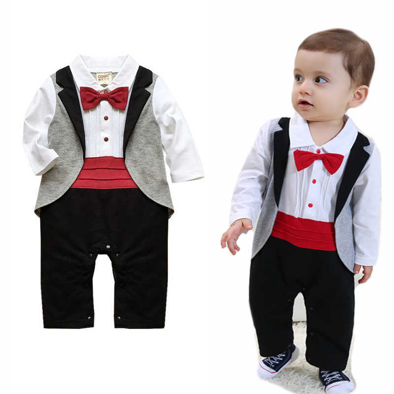 2bc801a918d Baby Rompers Cotton Baby Boy Clothes Long Sleeve Bow Tie Baby Boy Tuxedo  Roupas Beb Newborn