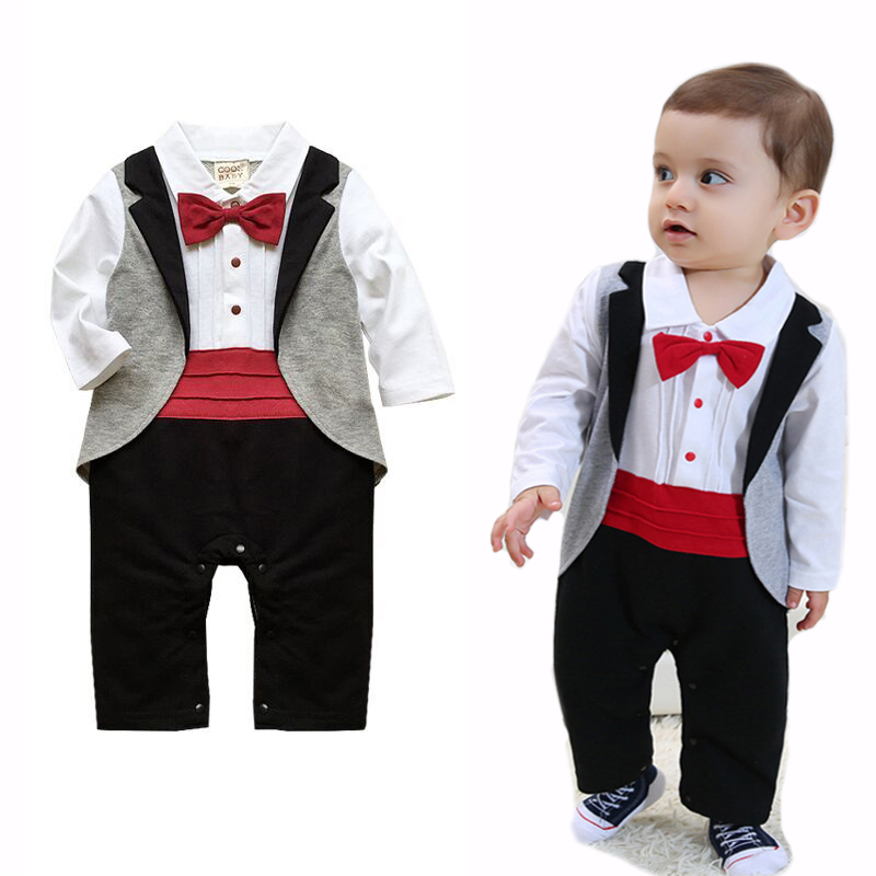 Baby Rompers Cotton Baby Boy Clothes Long Sleeve Bow Tie Baby Boy Tuxedo Roupas Beb Newborn Baby