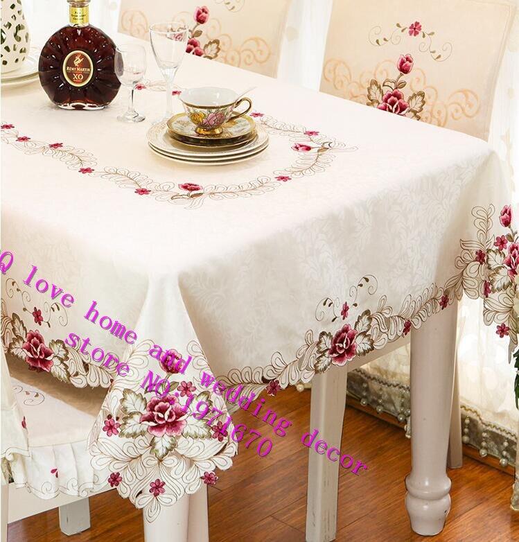 Hochwertigen Stoff Tischdecke Gestickten Abdeckung Wohnzimmer Tisch Tuch Stuhlabdeckung Kissen Anzug TischabdeckungChina