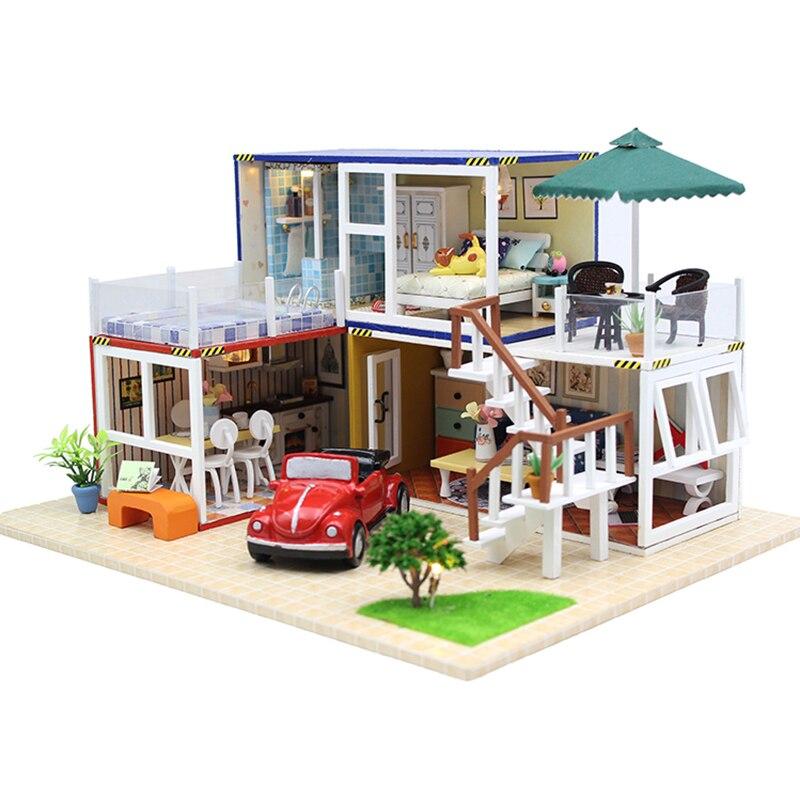 गर्म बिक्री DIY गुड़िया घर लकड़ी Miniatura गुड़िया घर फर्नीचर एलईडी रोशनी जन्मदिन का उपहार 13842 के साथ लघु गुड़ियाघर