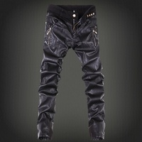 2015 Mens Skinny Jean Overalls Motorcycle Jeans Men Pu Leather Jeans Pants Denim Jeans Pants Leather