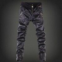 2017 mężczyzna skinny jean kombinezony motocyklowe jeans men pu skórzane spodnie jeansowe denim jeans spodnie skórzane biegaczy mały rozmiar 28-36