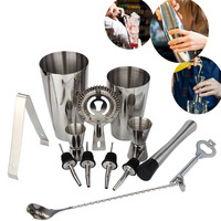 13Pcs 800/600ml Stainless Steel Cocktail Shaker Bar Set Wine Martini Drinking Mixer Boston Style Shaker For Party Bar Tool