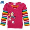 Nova niños ropa floral bordado con mangas de la raya del arco iris chicas camiseta nova 2015 alta calidad de las muchachas de la camiseta al por menor