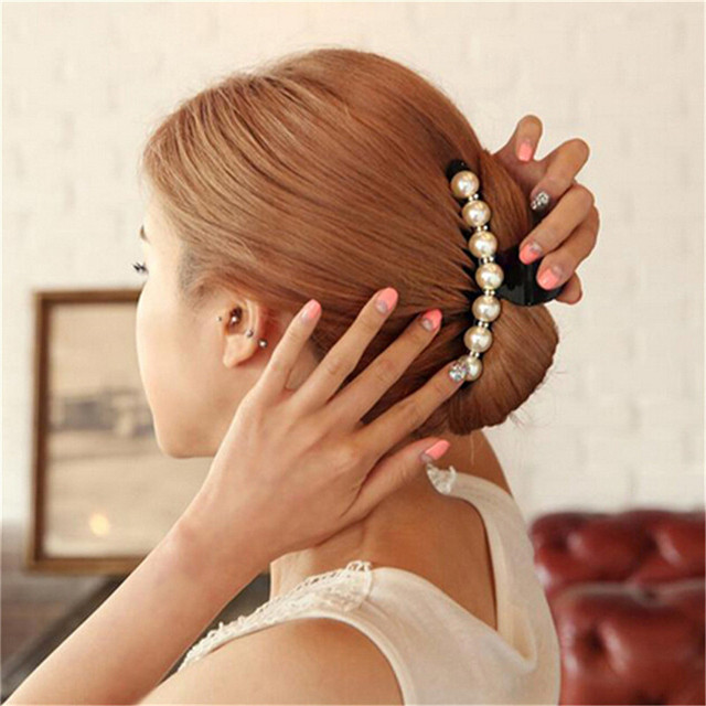 Emulational Pearl Top Gripper Hairpins Crystal Rhinestone Hair Clip Hair Crab Plastic Hair Claws for Women Clamp Resin Barette