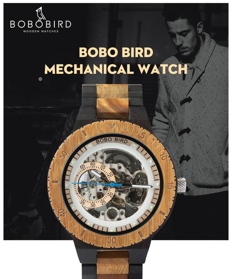 HTB1H3dpa4D1gK0jSZFKq6AJrVXan Relogio Masculino BOBO BIRD Mechanical Watch Men Wood Wristwatch Automatic Customized Gift for Dad