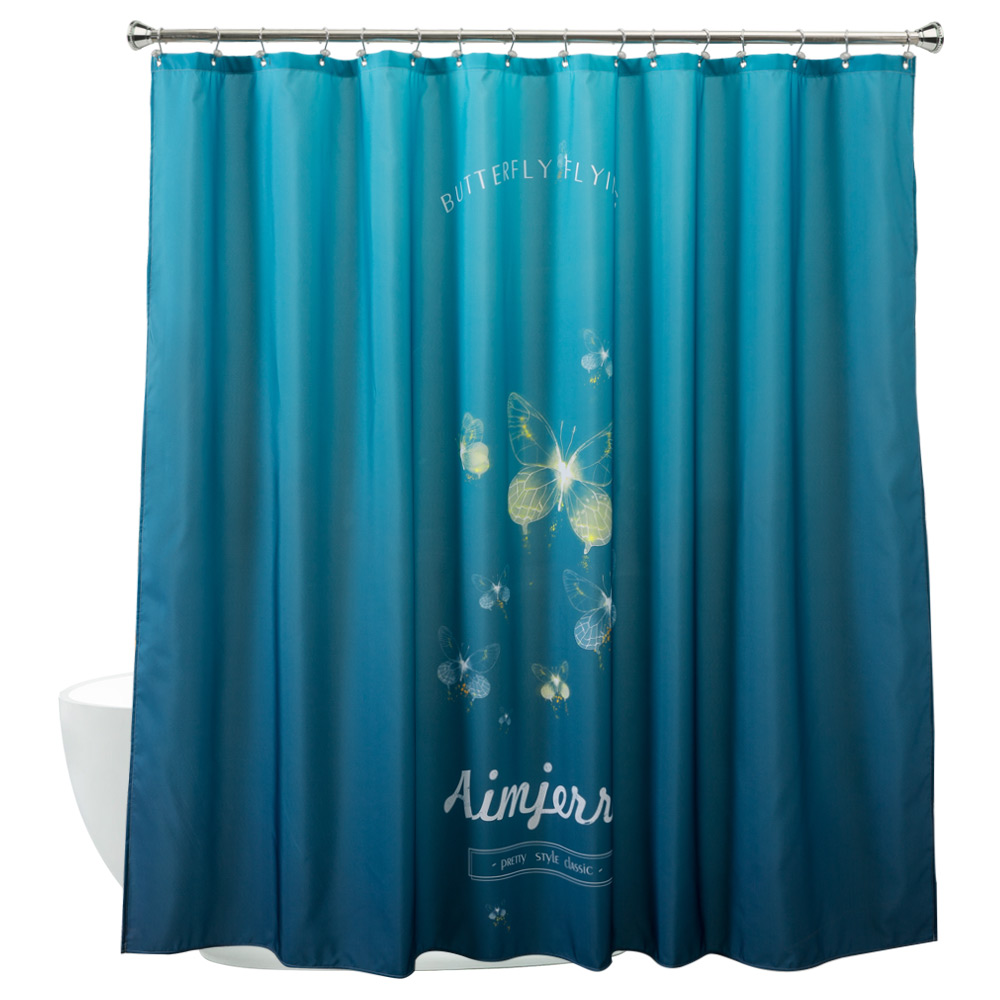 Blue bathroom curtains - Aimjerry 72 72 Inch Eco Friendly Bathroom Fabric Shower Curtain Liner With 12 Steel Ring Waterproof And Mildewproof Blue Color