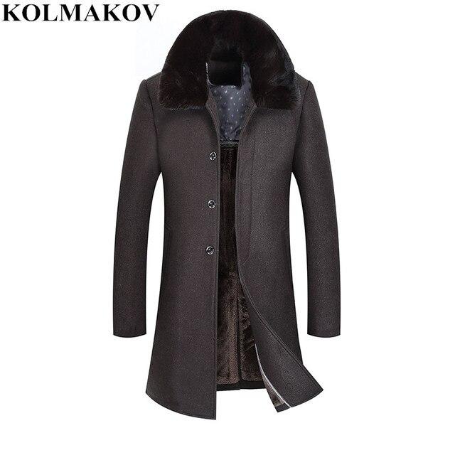 Новые Брендовые мужские 2018 на осень-зиму толстые длинные шерстяные пальто куртки homme хорошего качества меховым воротником шерстяное пальто мужской slim fit M-4XL