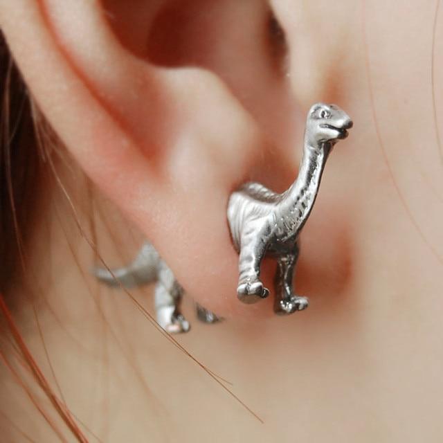 Juric World Park Dinosaurs Stud Earrings Three Dimensional Tridimensional Fake Body Ear Piercing Puncture