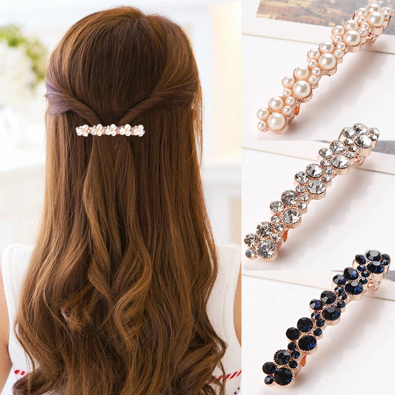 New Hot Sale 5Colors Women Korean Crystal Pearl Barrettes Popular Elegant Hair Clip Hair Accessories