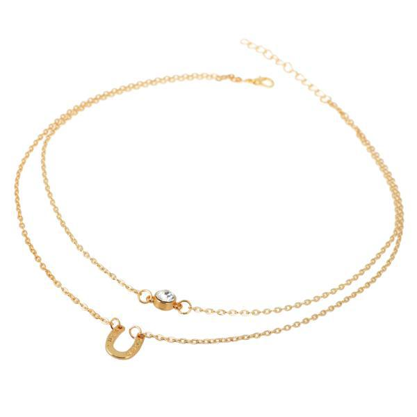 Hot Sale Simple Gold Double Chain Necklace Crystal Round Pendant