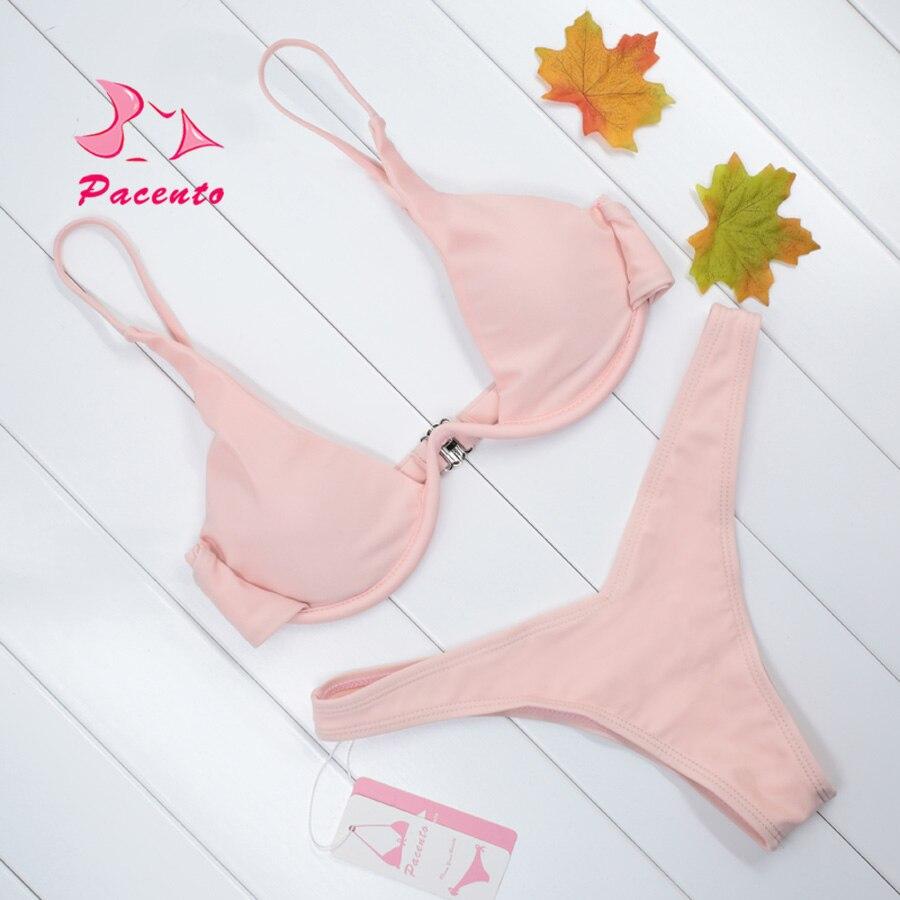 Pacento 2018 Sexy Swimwear Women Brazilian Bikini Set Bandage Bathing Suit Paded Swimsuit Female Push Up Biquini Maillot De Bain in Bikinis Set from Sports Entertainment