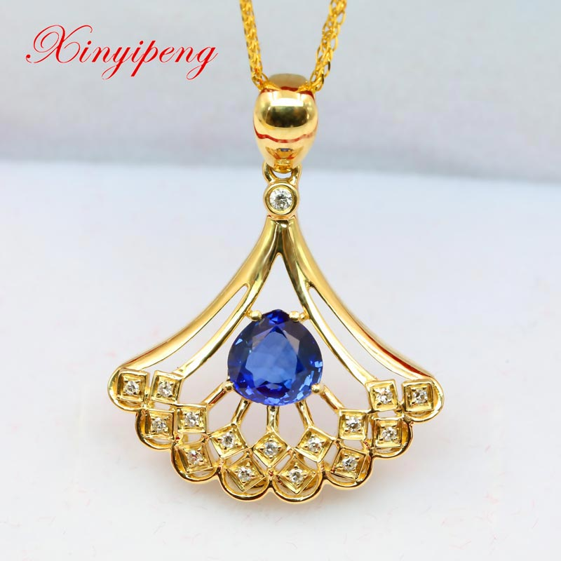Xin yi peng 18 k yellow gold inlaid natural sapphire pendant with diamond women pendant hollow out dress birthdays anniversaries