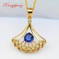 Xin yi peng 18 k yellow gold inlaid natural sapphire pendant with diamond women pendant hollow out dress birthdays anniversaries