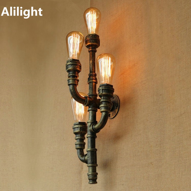 Retro Metal Water Pipe Wall Lamp Vintage Mini Style 4 Lights LED ...