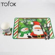 Tofok 12Pcs/set Christmas Santa Claus Snowman Gift Pattern PVC Placemat Coaster Tableware Pad Home Kitchen Bar Xmas Party Decor
