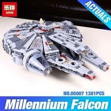 Nova lepin 05007 1381 pcs blocos de construção de star wars millennium falcon modelo força desperta rey bb-8 kits educacionais diy brinquedos 10467