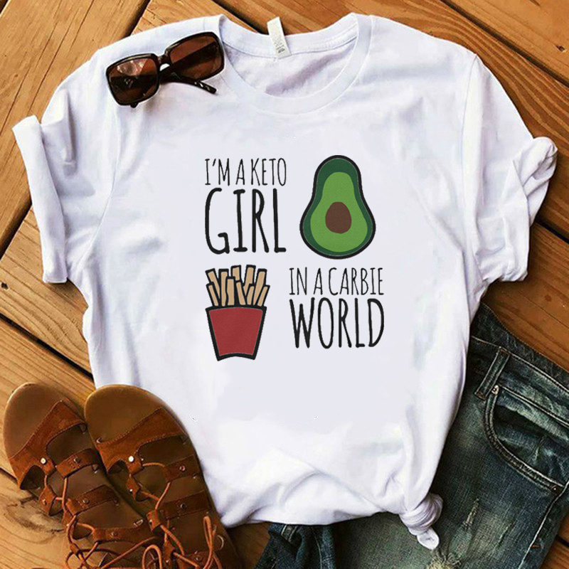 Fashion Im A Keto Girl In A Carbie World Print White T-Shirt Women Classic Streetwear Casual Poleras Aesthetic Clothes Femme