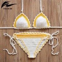 2016 Push Up Swimwear Swimsuit Sexy Bikini Set Swimwear Female Women Summer Dress Handmade Crochet Bikinis