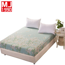 New 100% Cotton Printed Twill Bed Sheets With Elastic Bed Linen Queen Size Mattress Covers Fitted Sheet Sets For King Size Bed