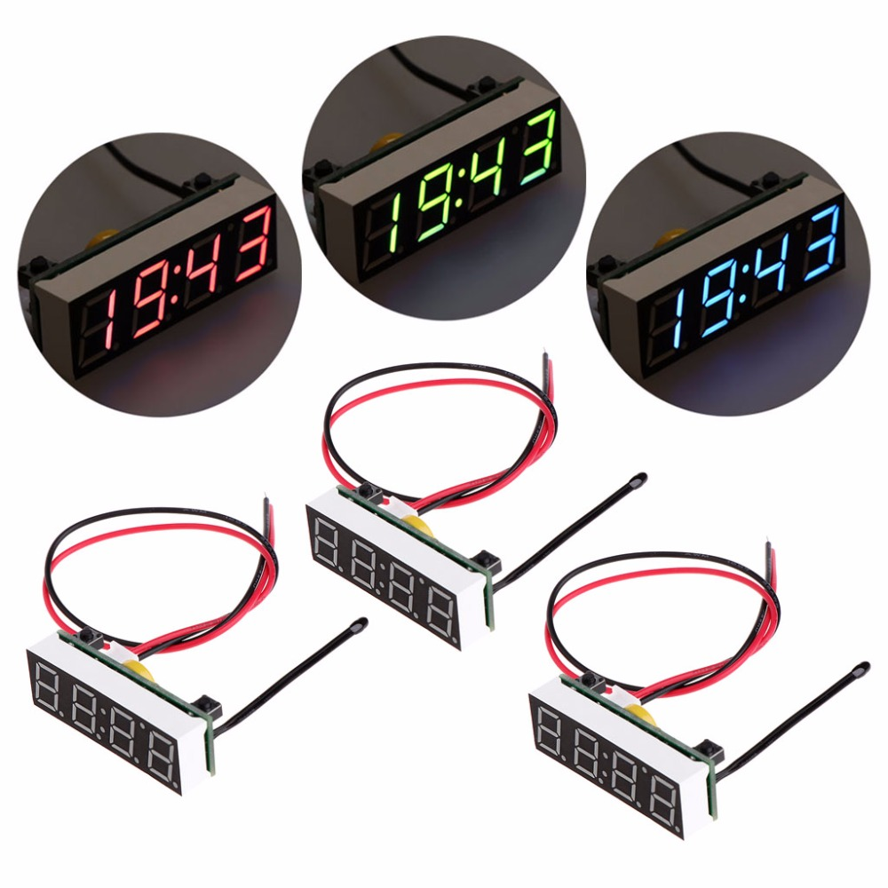 Digital Thermometer Car 3 in 1 LED DIY Digital Clock Temperature Voltage Module Electronic DC 5~30V