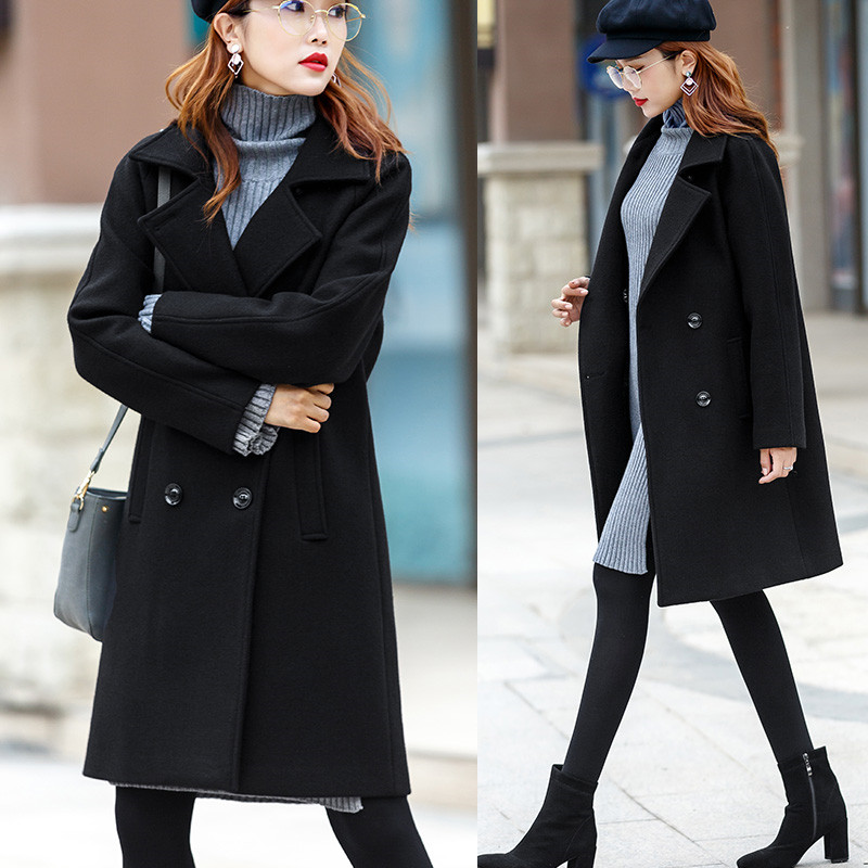 Qualité Femelle Solide Mode Manteau De Double Nouvelle Veste Femmes Breasted Ll845 Long Hiver Laine Haute Black Pardessus Moyen Survêtement Couleur 8w0nOmNyv