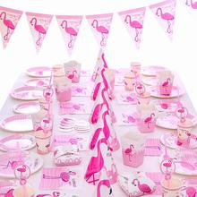 Pink Flamingo Party Decoration Hawaiian Party Decorations Flamingo Birthday Party Decorations Kids Paper Cups Plates Supplies flamingo party decor tropical hawaiian luau party supplies balloons paper cup plates straw first birthday party decorations kids