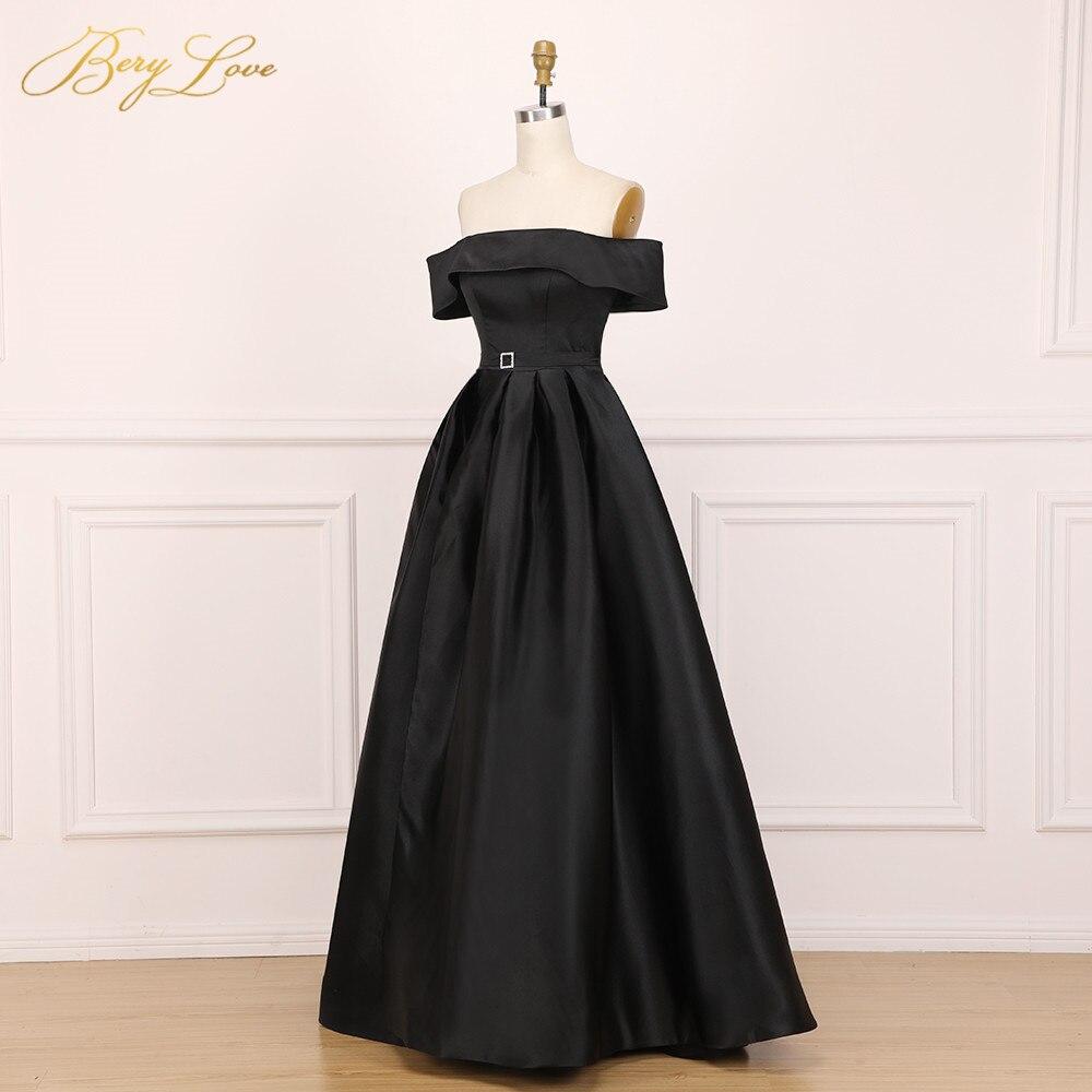 BeryLove élégant épaule dénudée Blush rose robe de soirée 2019 Satin soirée ceinture mode robe de bal fente formelle robe de soirée longue - 2