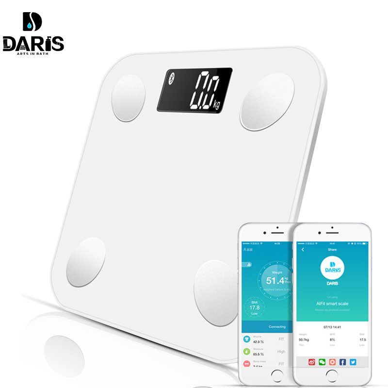 Bluetooth scales floor Body Weight Bathroom Scale Smart Backlit Display Digital Scale Body Weight Body Fat Water Muscle Mass BMI(China)