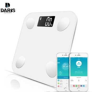 Balances Bluetooth balance de sol poids corporel balance de salle de bain affichage rétro-éclairé intelligent balance numérique poids corporel graisse corporelle eau masse musculaire imc