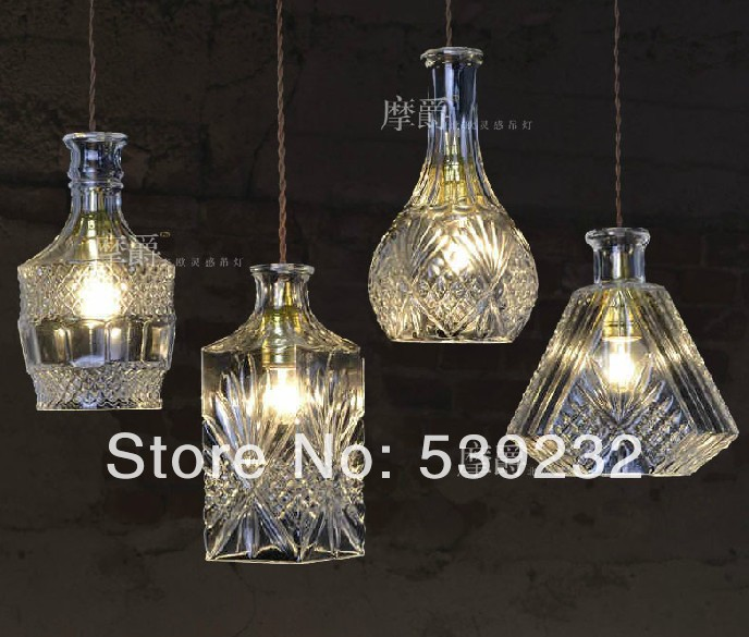 Glass crystal dining room pendant light bar table lamps personalized wine bottle lamps free shipping 3 lights dining room glass pendant light tready wine cup crystal pendant lamp led lamps bar kitchen glass light