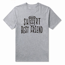 LUSLOS  Best Friend Short Tall T Shirts Coffee Tee Funny Casual Comfortable Sleeve