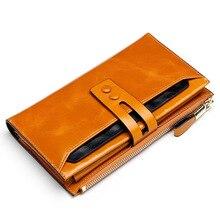 Модные женские кожаные кошельки женский кошелек из натуральной кожи Дамский кошелек с застежкой женские кошельки длинный держатель для карт Cartera Mujer
