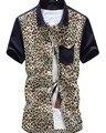 2015 verano nuevos hombres hombres de la camisa de moda de manga corta para la impresión del leopardo hombres de buena calidad, venta al por menor, de la gota libre, envío gratis