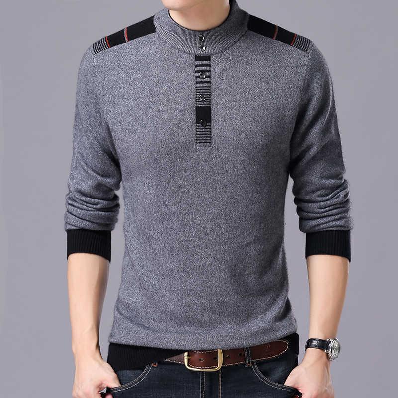 2020 겨울 새로운 도착 두꺼운 따뜻한 스웨터 o 목 양모 스웨터 남자 브랜드 의류 니트 캐시미어 풀 오버 남자