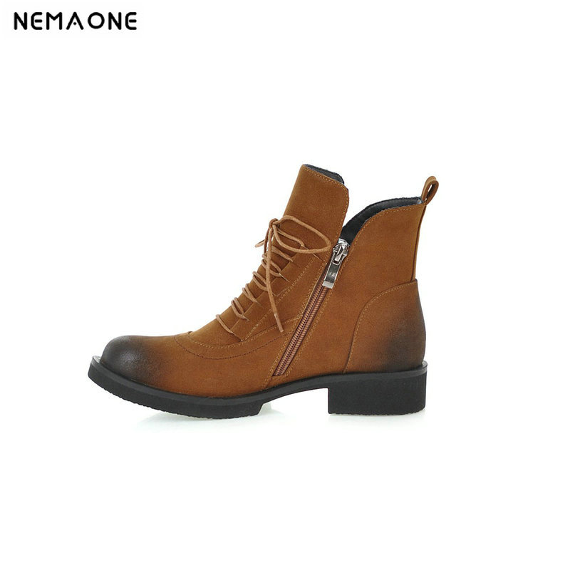 NEMAONE New motorcycle boots woman low heels women ankle boots lace up casual shoes woman black