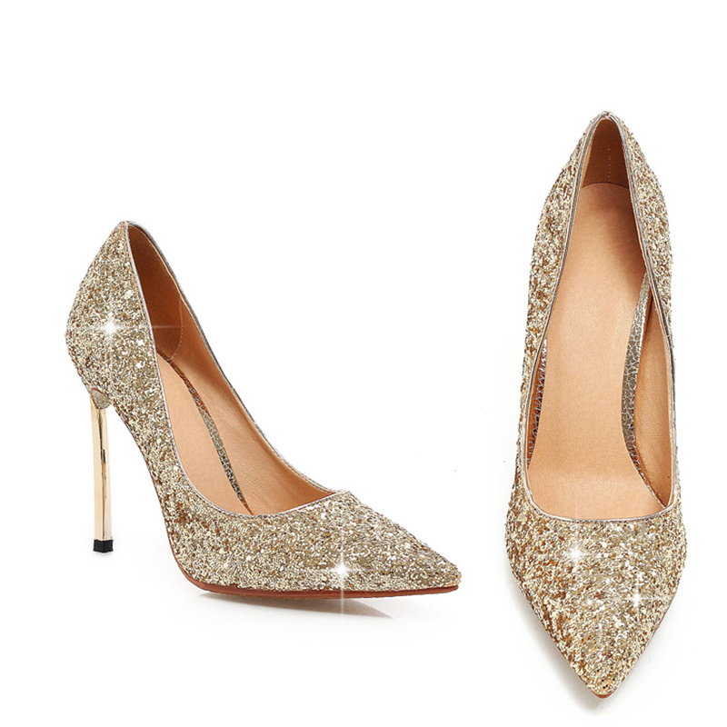 ФОТО Sequined Cloth Flock Upper 2 Options Fashion Women Pumps Pointed Toe High Heels Shallow Pumps Solid Sexy Women Party Shoes