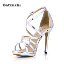 Batzuzhi New Sandal Women Gladiator Open Toe Silver Leather Buckle Straps Women High Heel Sandal Shoes Summer Zapatos Mujer