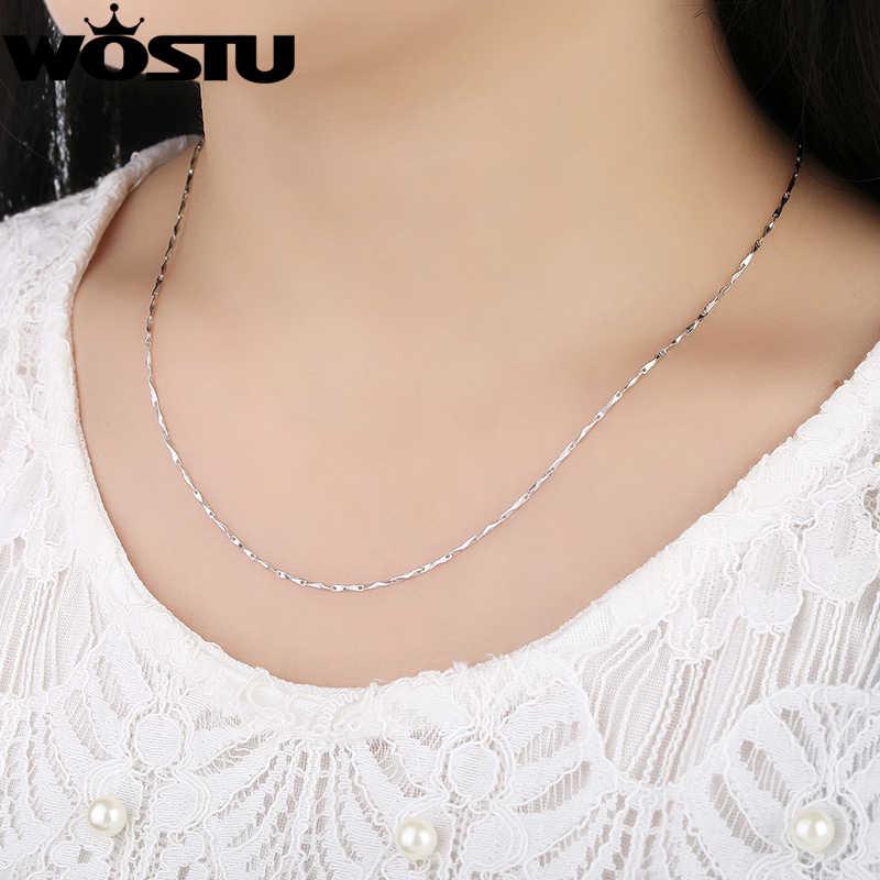 100% 925 Sterling srebrne łańcuszki naszyjniki nadające się do wisiorek urok dla kobiet mężczyzn luksusowe S925 biżuteria prezent CQA003