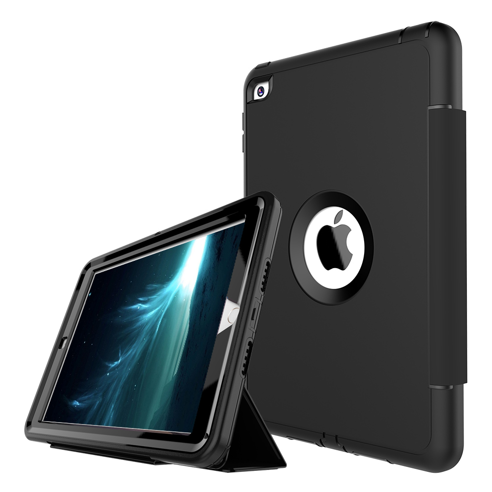 For iPad mini 4 3-Layer Smart Cover Case Hybrid Armor Full Protection Heavy Duty PC+TPU+PU Folding Stand Hard Tablet Case цена