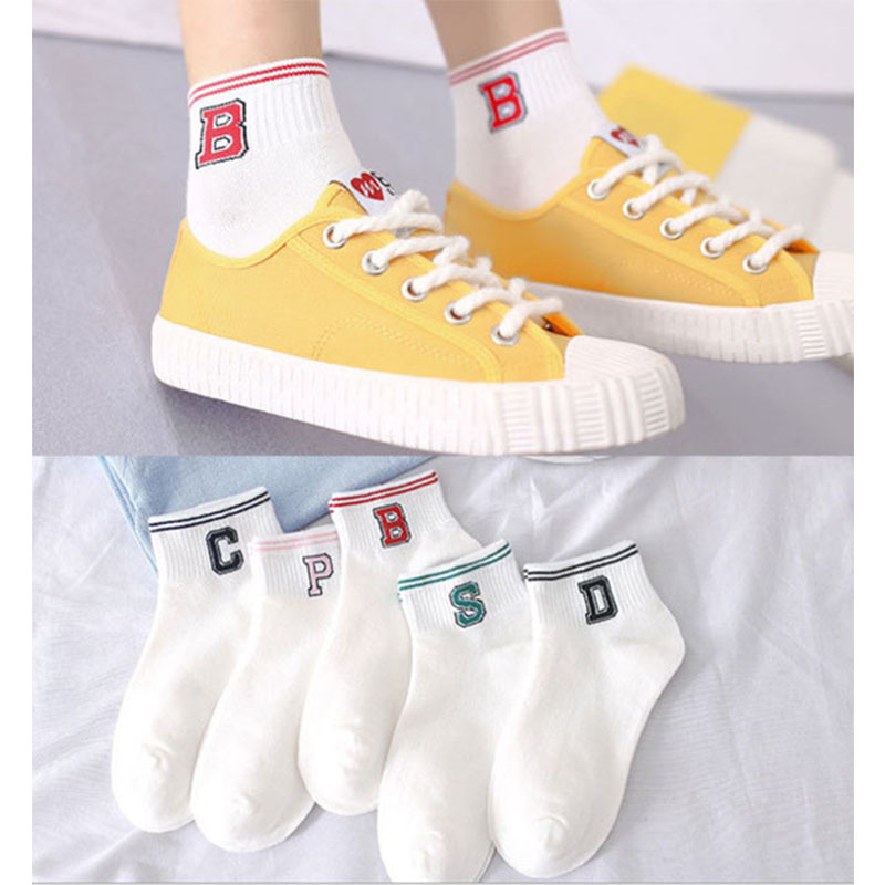 Spring Sports Boat Socks Female College Wind Shallow Mouth Cotton Casual Socks Female Letters Bdcep Cute Girls Socks