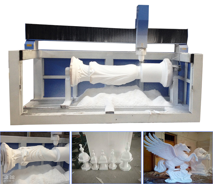 4axi Foam Cnc Router With Rotary Device For Round Material 4 Axis Cnc Router Foam