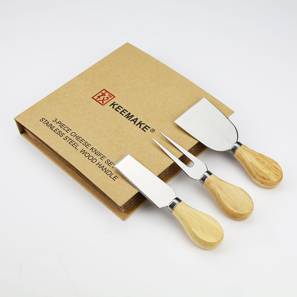 KEEMAKE 3PCS <font><b>Cheese</b></font> Knives Set Paper Book <font><b>Holder</b></font> Box Wood Handle Stainless Steel <font><b>Cheese</b></font> Knife Slicer Baking Tool Free Shipping image