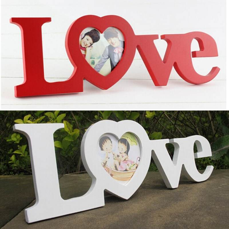 white red love design wedding decoration wooden photo frame picture