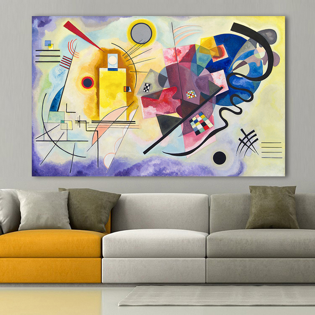100 Handmade Abstract Wall Pictures Art For Living Room Home Decor Yellow Red Blue Wily Kandinsky Oil Painting No Frame