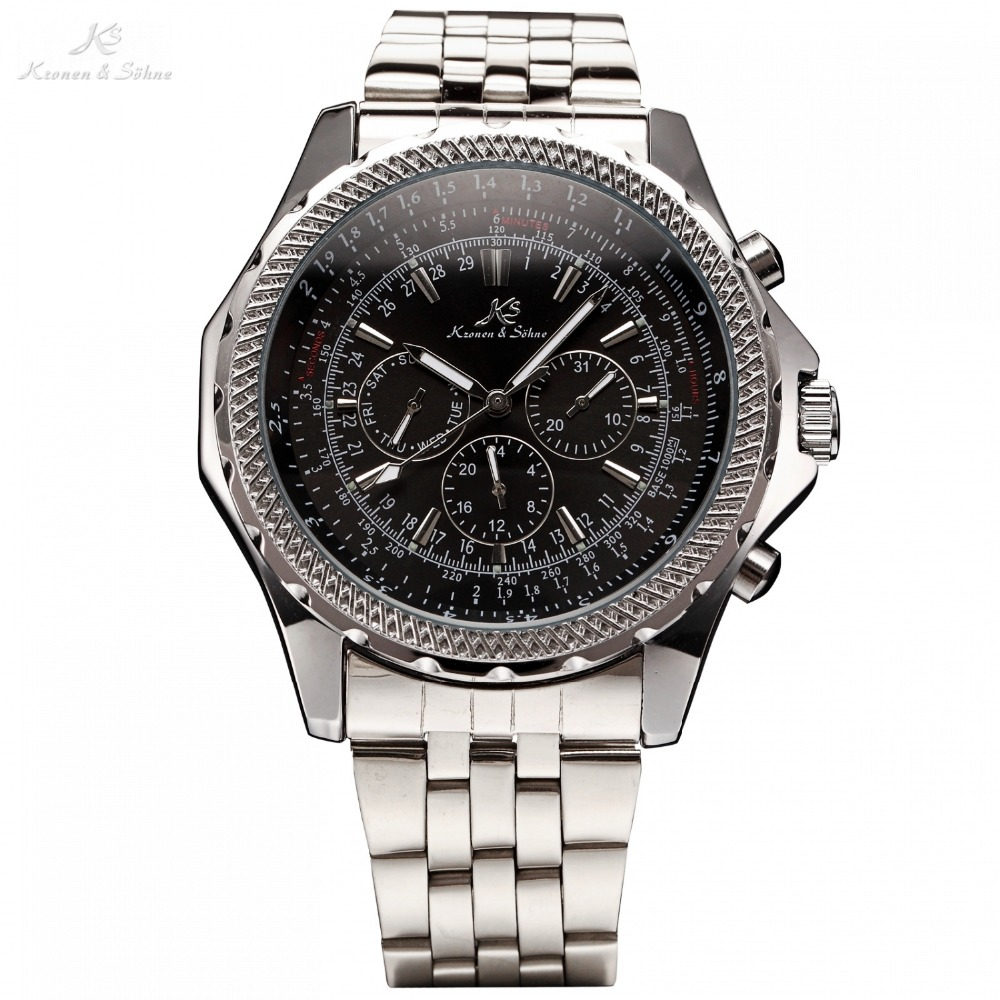 KS Royal Carving Luxury Male Clock Men Full Steel Watch Day Date 24 Hours Auto Mechanical Mens Wristwatch Fashion Watches /KS140 ks brand white gold auto date day 24 hour display black leather male clock wrist automatic self wind men mechanical watch ks246