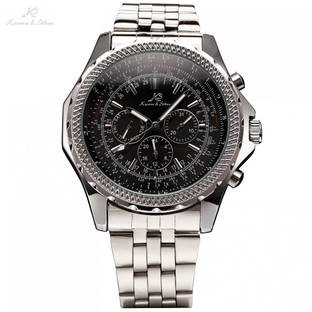 цена на KS Royal Carving Luxury Male Clock Men Full Steel Watch Day Date 24 Hours Auto Mechanical Mens Wristwatch Fashion Watches /KS140