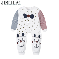 JINLILAI 2018 Newborn Baby Clothes Striped Stitching Cartoon Tie Cotton Long Sleeve Cute Style Lucky Child